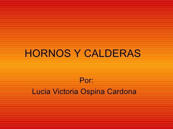 HORNOS Y CALDERAS  Por: Lucia Victoria Ospina Cardona