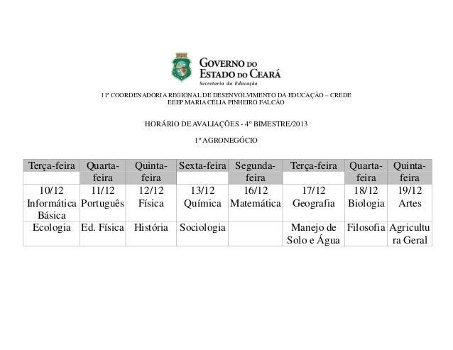11ª COORDENADORIA REGIONAL DE DESENVOLVIMENTO DA EDUCAÇÃO – CREDE EEEP MARIA CÉLIA PINHEIRO FALCÃO  HORÁRIO DE AVALIAÇÕES ...