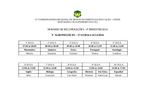 11ª COORDENADORIA REGIONAL DE DESENVOLVIMENTO DA EDUCAÇÃO – CREDE EEEP MARIA CÉLIA PINHEIRO FALCÃO HORÁRIO DE RECUPERAÇÕES...