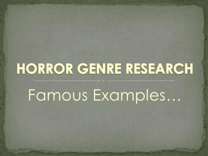 Horror genre research