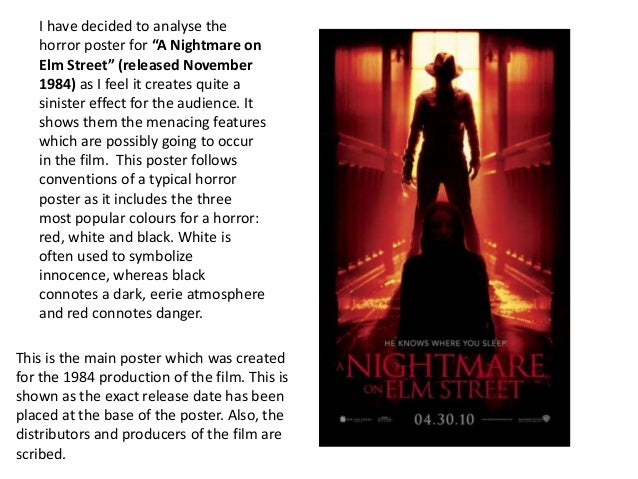 a literary analysis of a nightmare on elm street Nightmare on elm street series of horror movies, originally created by wes craven how did freddy krueger become one of the most fearsome horror icons of the 1980s, 1990s and now the 2000s.