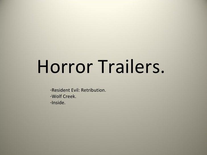 Horror Trailers. -Resident Evil: Retribution. -Wolf Creek. -Inside.