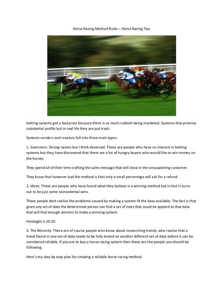 Horse racing method rules – horse racing tips