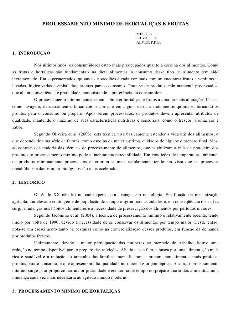 PROCESSAMENTO MÍNIMO DE HORTALIÇAS E FRUTAS                                                                   MELO, B.    ...