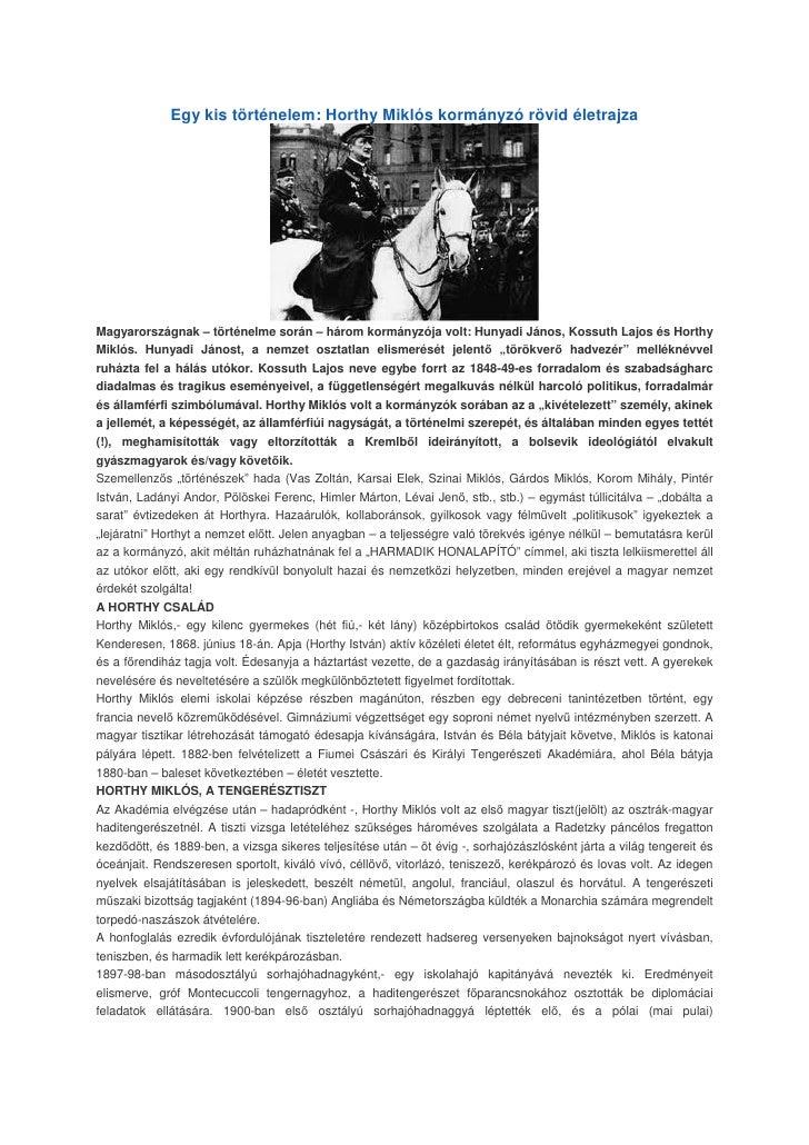 Egy kis történelem: Horthy Miklós kormányzó rövid életrajza