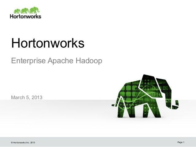 HortonworksEnterprise Apache HadoopMarch 5, 2013© Hortonworks Inc. 2013    Page 1