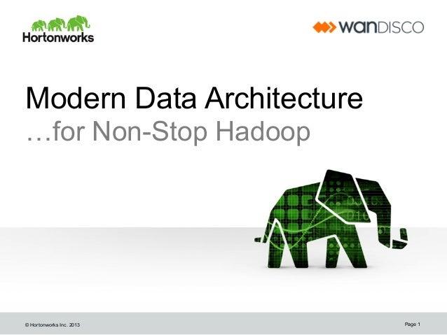 Non-Stop Hadoop for Hortonworks