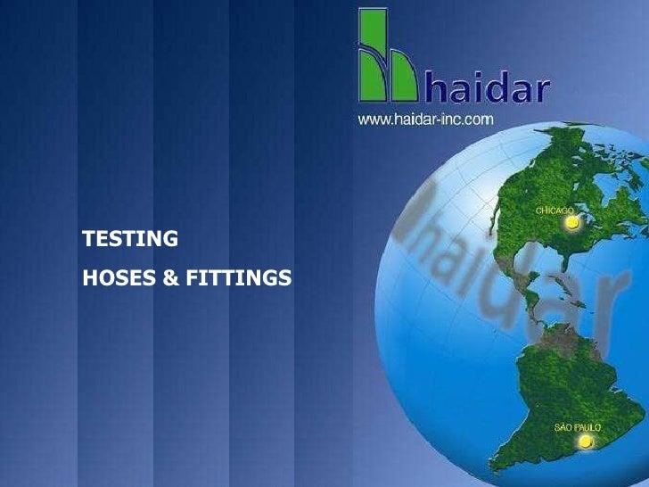 TESTING HOSES & Fittings