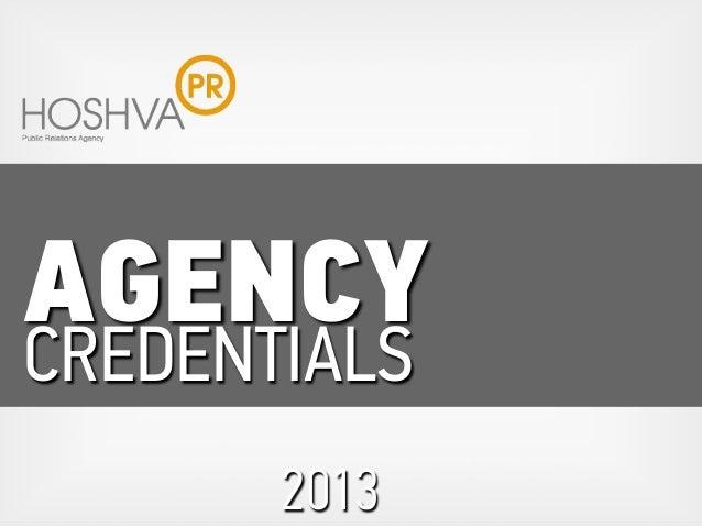 AGENCY CREDENTIALS 2013