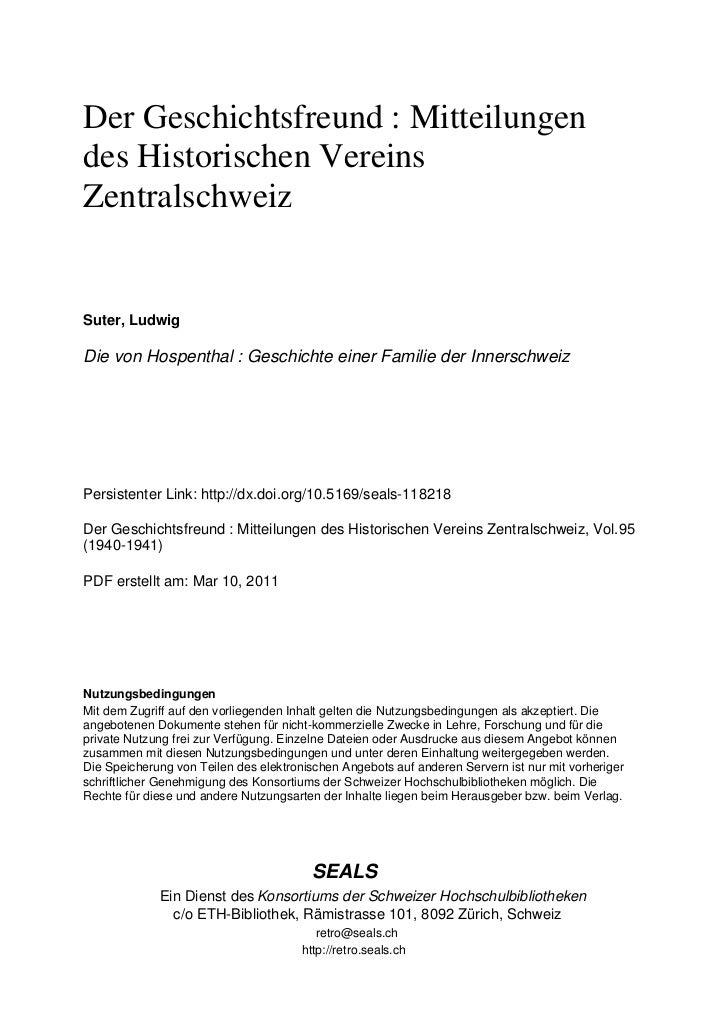 Der Geschichtsfreund : Mitteilungendes Historischen VereinsZentralschweizSuter, LudwigDie von Hospenthal : Geschichte eine...