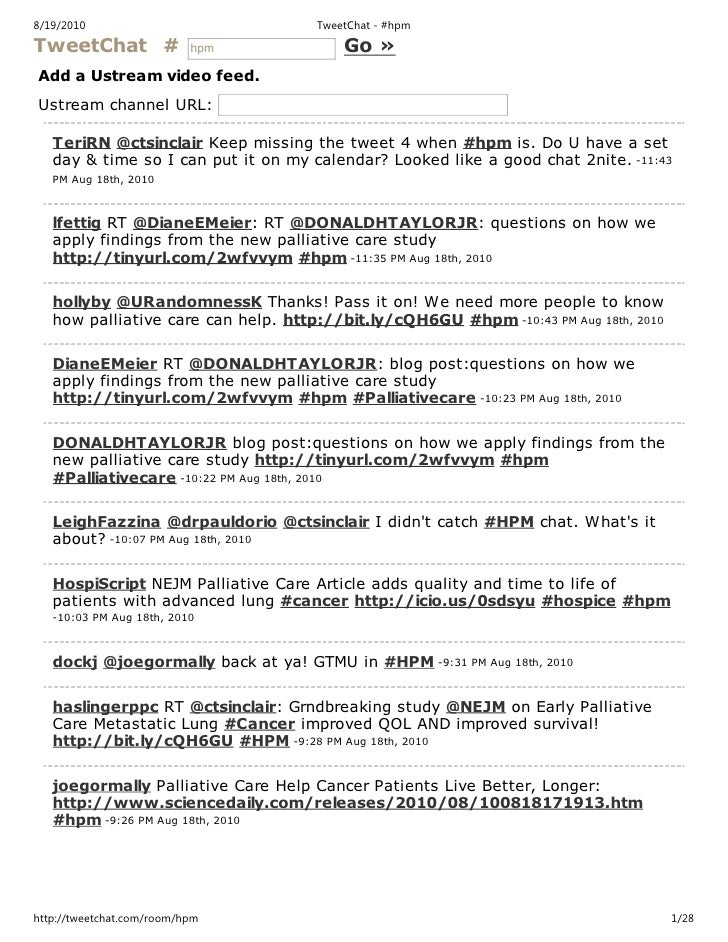 Hospice and palliative tweetchat transcript 2010 08 18