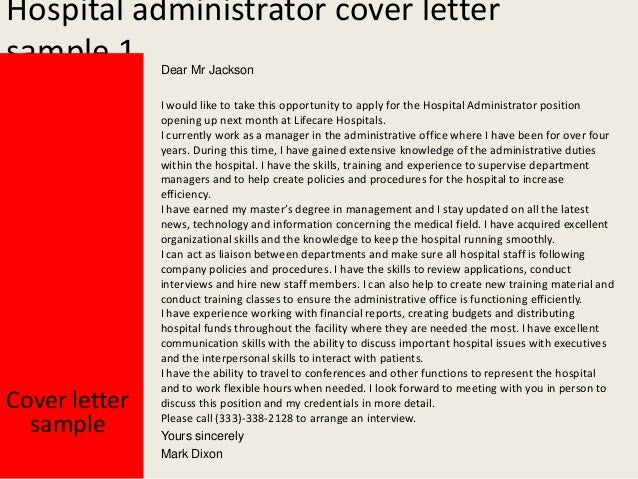 Attractive Hospital Administrator Cover Letter .