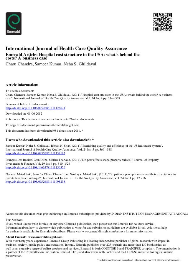 International Journal of Health Care Quality AssuranceEmerald Article: Hospital cost structure in the USA: whats behind th...