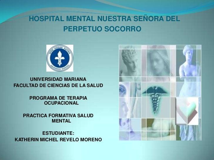 HOSPITAL MENTAL NUESTRA SEÑORA DEL PERPETUO SOCORRO<br />UNIVERSIDAD MARIANA<br />FACULTAD DE CIENCIAS DE LA SALUD<br />PR...