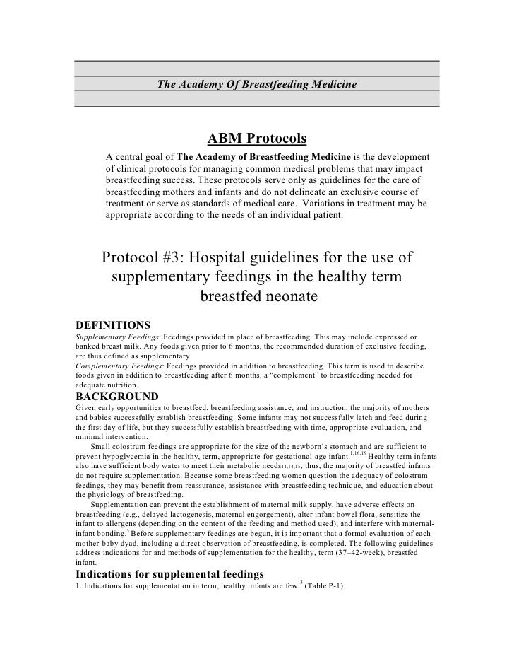 Hospital Guidelines For The Use Of Supplementary Feedings In The Healthy Term Breastfed Neonate