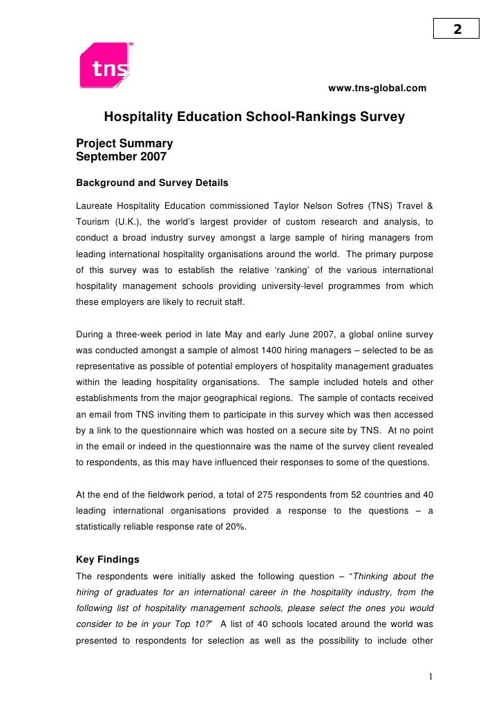 2                                                                 www.tns-global.com         Hospitality Education School-...