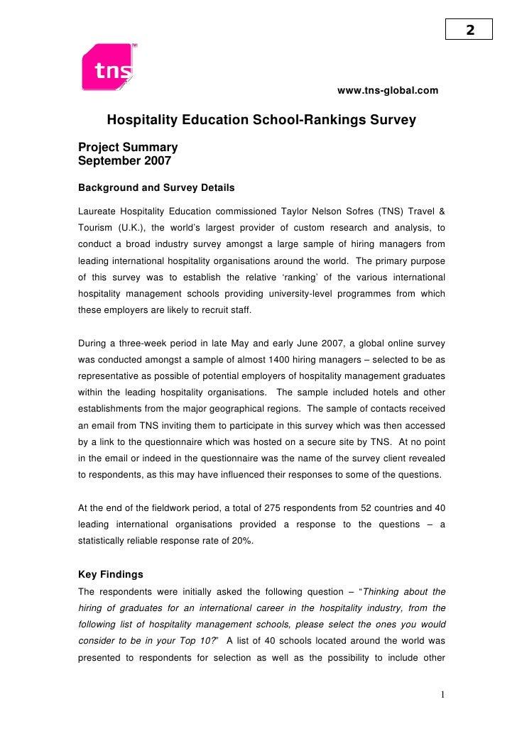 Hospitality Education School - Ranking Survey