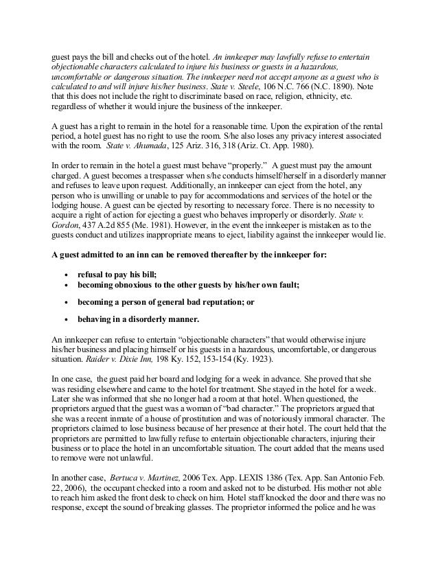 legal responsibilities of hospitality operator to guests Central texas college syllabus for hamg 1340 hospitality legal issues e outline the rights of operators to admit or refuse guest or patrons and their duties to.