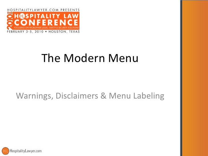 The Modern Menu  Warnings, Disclaimers & Menu Labeling
