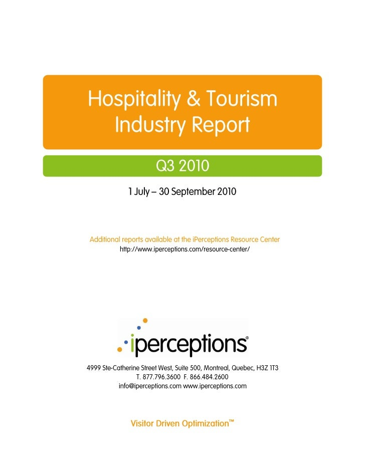 Hospitality Tourism Industry Report Q3 2010