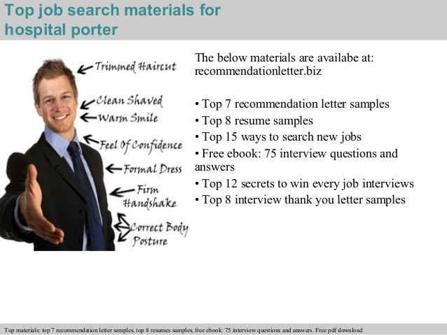 hospital porter recommendation letterfree pdf      top job search materials for hospital porter