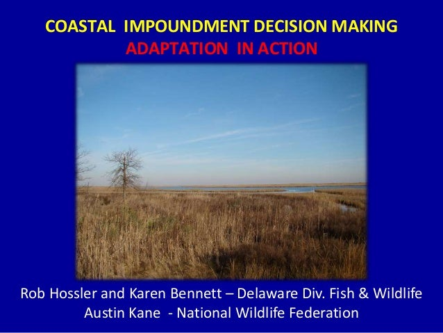 COASTAL IMPOUNDMENT DECISION MAKING ADAPTATION IN ACTION Rob Hossler and Karen Bennett – Delaware Div. Fish & Wildlife Aus...