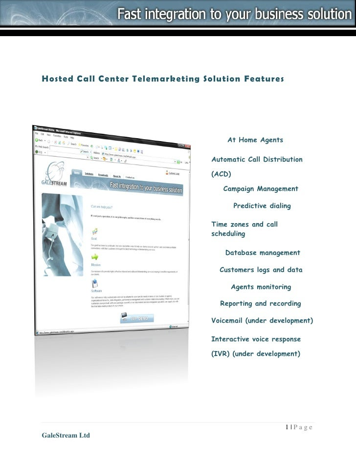 Hosted Call Center Telemarketing Solution Features                                           At Home Agents               ...
