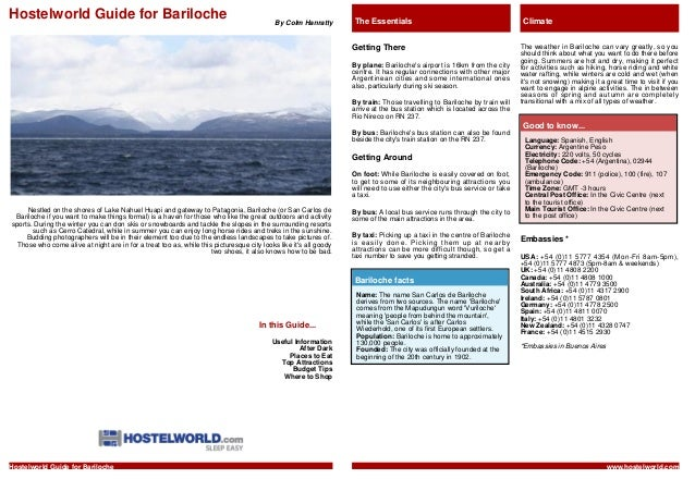 Hostelworld Guide for Bariloche                                                             By Colm Hanratty       The Ess...