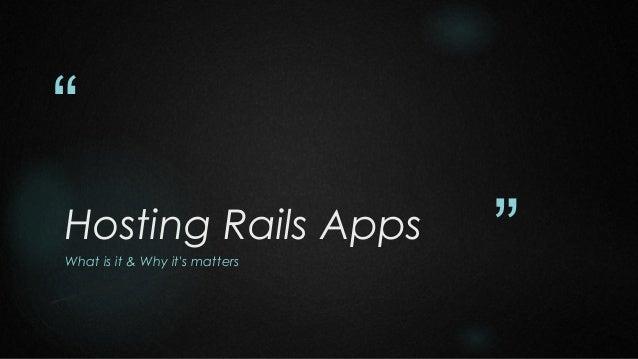 Hosting rails apps