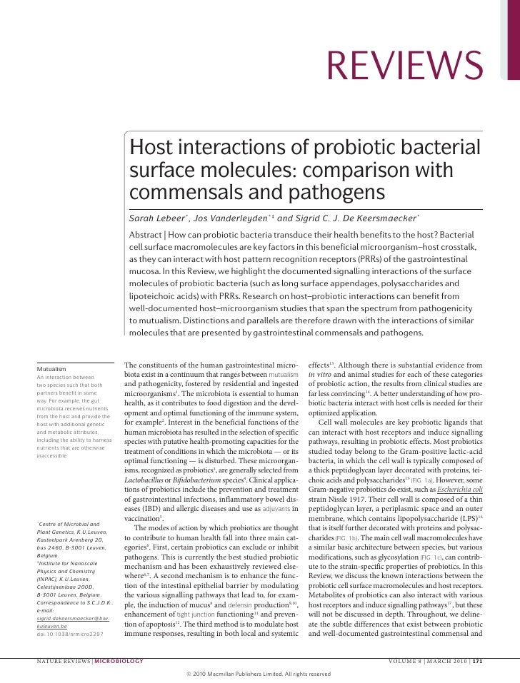 Host Interactions Of Probiotic Bacterial Surface Molecules  Comparison With Commensals And Pathogens