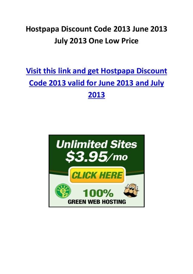 Hostpapa Discount Code 2013 June 2013 July 2013 One Low Price