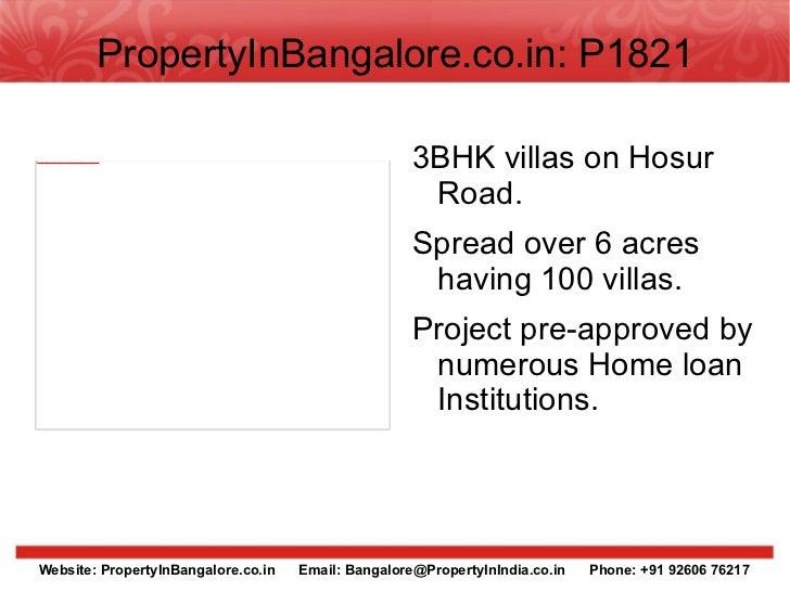 PropertyInBangalore.co.in: P1821 <ul><li>3BHK villas on Hosur Road.