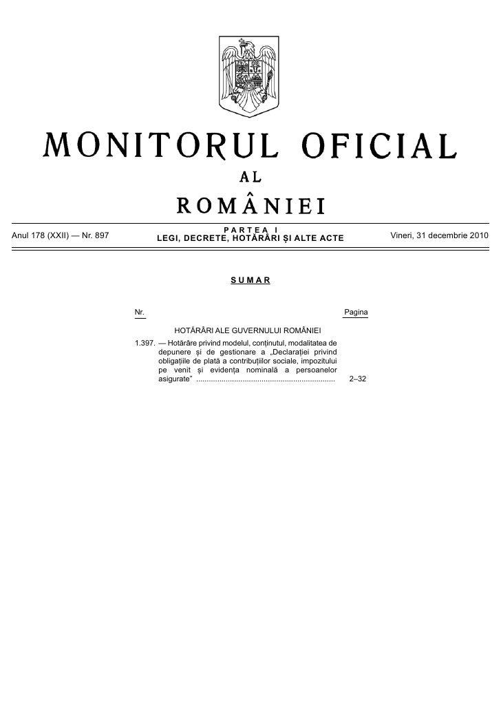 Hotararea guvernului 1397 2010   declaratia 112