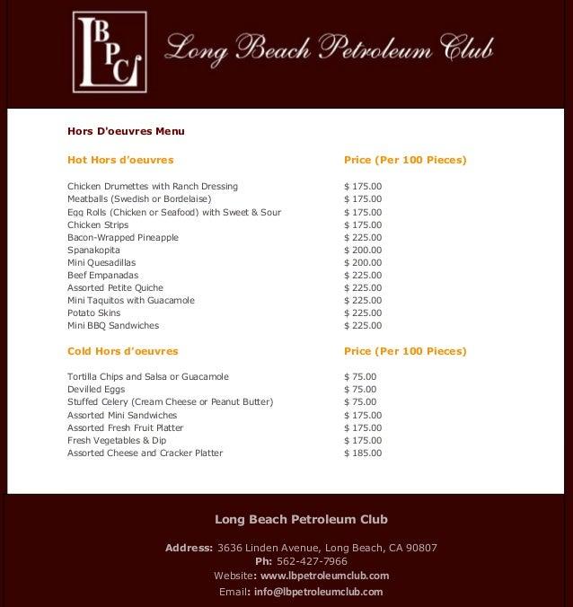 Hot & Cold Hors D'oeuvres Menu - Petroleum Club Long Beach