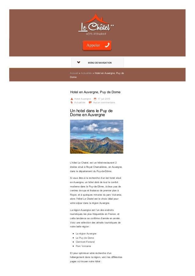 MENU DE NAVIGATIONMENU DE NAVIGATION Accueil » Actualités » Hotel en Auvergne, Puy de Dome Hotel en Auvergne, Puy de Dome ...