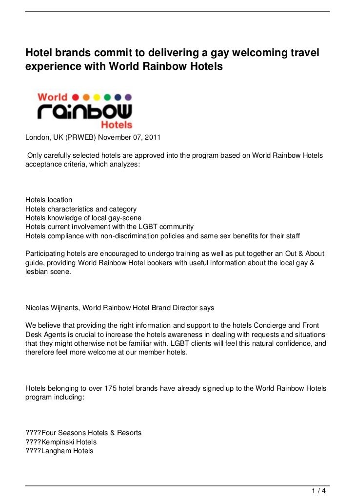 Hotel brands commit to delivering a gay welcoming travelexperience with World Rainbow HotelsLondon, UK (PRWEB) November 07...