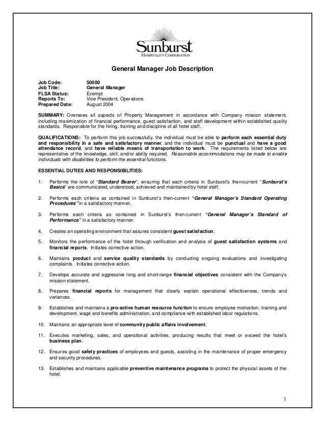 General Manager Duties rockcuptk – Restaurant Manager Job Description