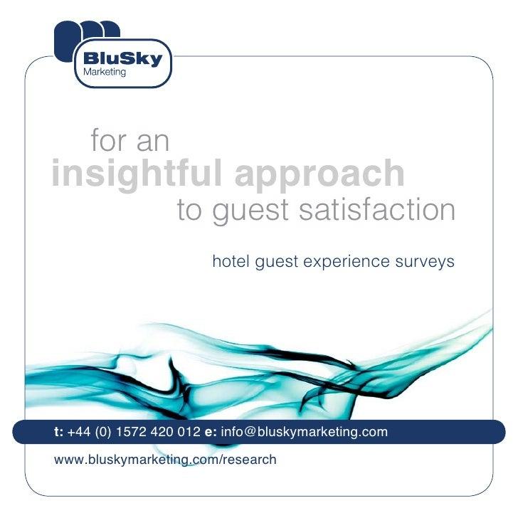 Hotel Guest Experience Surveys by BluSky Marketing