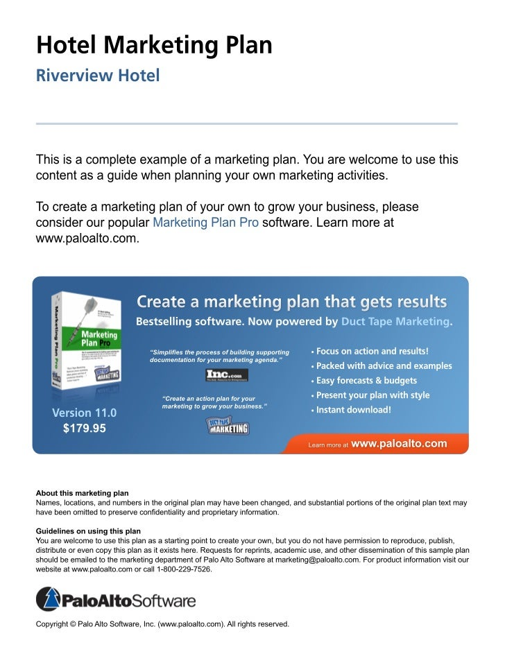 hotel marketing plan riverview hotel Sales & marketing plan overview  there are many items to consider when you are creating your hotel's sales and marketing plan below are some additional items.
