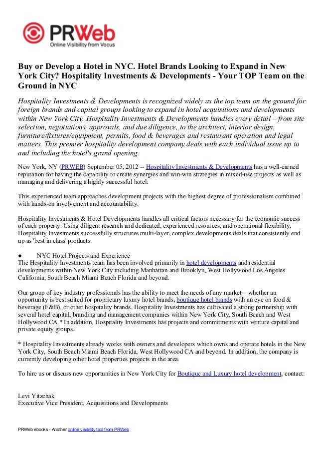 Buy or Develop a Hotel in NYC. Hotel Brands Looking to Expand in NewYork City? Hospitality Investments & Developments - Yo...