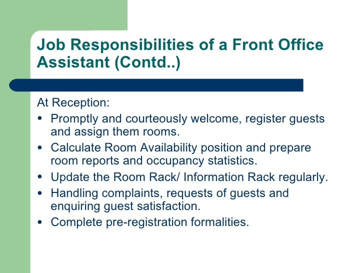 job roles for front desk  seangarrette cojob