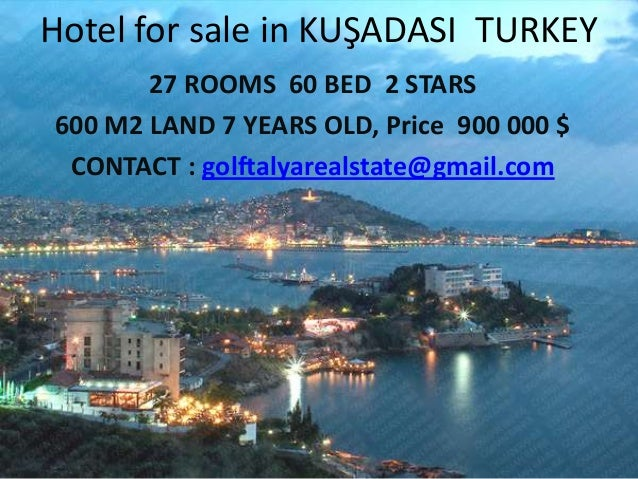 Hotel for sale in KUŞADASI TURKEY 27 ROOMS 60 BED 2 STARS 600 M2 LAND 7 YEARS OLD, Price 900 000 $ CONTACT : golftalyareal...