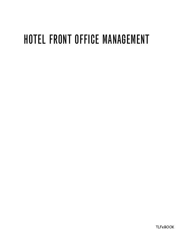 Hotels Front Office Department Hotel Front Office Management