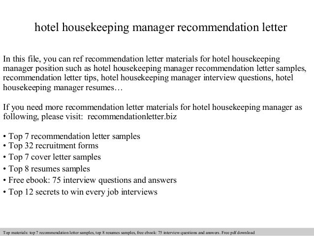 Hotel housekeeping manager recommendation letter for Hotel recommendation