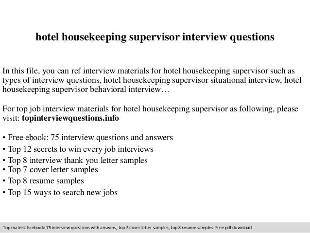 housekeeping supervisor interview questions