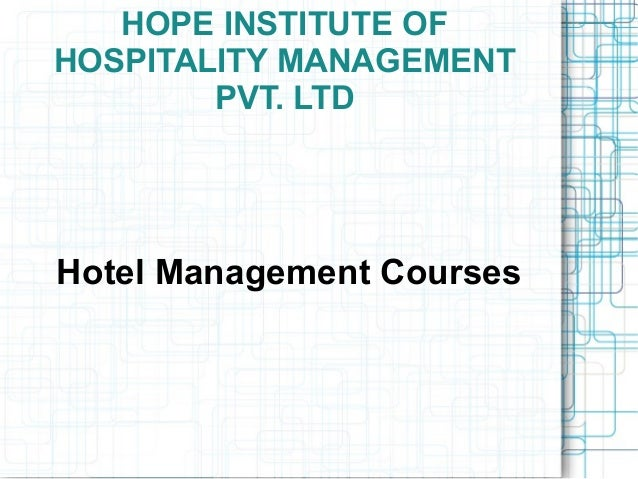 Hotel and Hospitality Management physics subjects