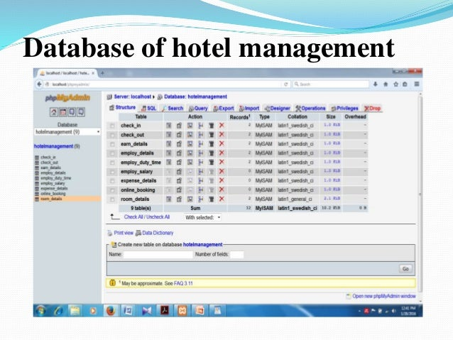 hotel database system Hi buddy, i send u complete database script of hotel reservation system, but please user it for personal practice, thanks, zounr badar uddin badar300@hotmailcom.