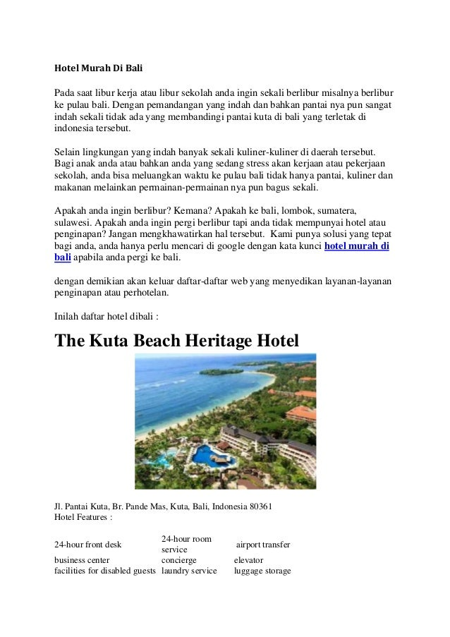 Daftar Hotel Murah Di Bali Dekat Pantai Kuta Tahun 2014