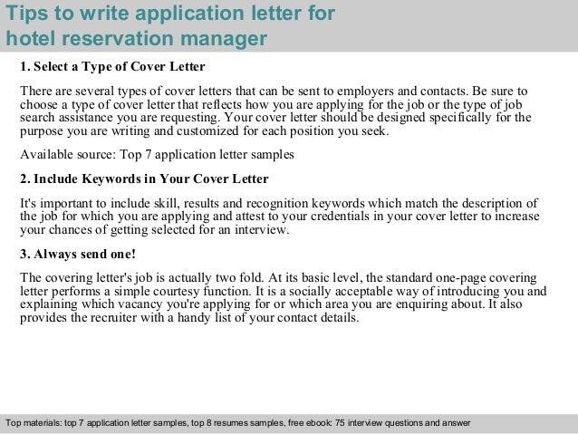 hotel reservation manager application letter