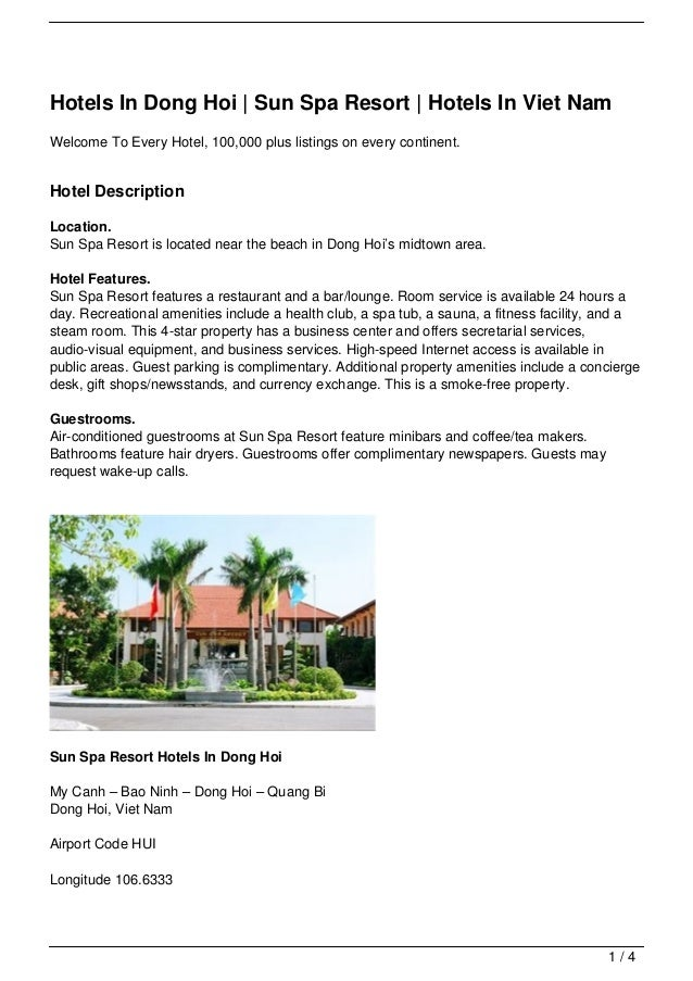 Hotels In Dong Hoi | Sun Spa Resort | Hotels In Viet NamWelcome To Every Hotel, 100,000 plus listings on every continent.H...